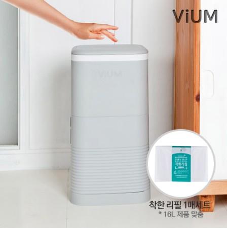 [ViUM] 비움 심플 리필 휴지통 16L + 착한리필 1매 세트_그레이