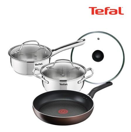 [Tefal] 테팔 인덕션 초콜릿 티타늄 프로 프라이팬 28cm+스텐 냄비 스페셜 2종 세트