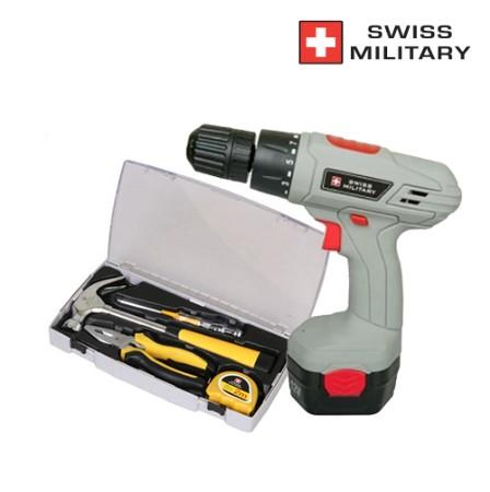 [SWISS MILITARY] 스위스밀리터리 12V 충전식 전동드릴(일반형)+수공구세트 4p_SM-1200M+SMT-0015