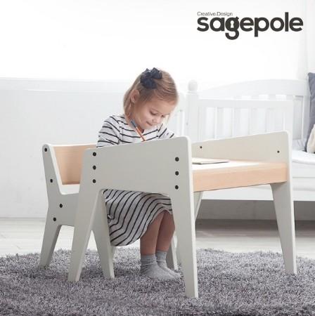 [sagepole] 세이지폴 NEW 북클레벤 유아책상의자 세트_코튼화이트